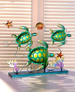 METAL SEALIFE  SCULPTURE SEA TURTLES WALL ART GARDEN HOME DECOR