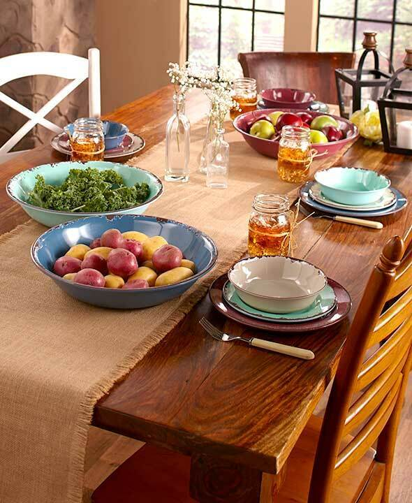 12 Pc Rustic Melamine Dinnerware Set 4 Bowls 4 Dinner Plates