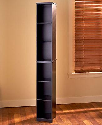 Slim Wood Storage Tower BLACK Cabinet or Baskets Bathroom Kitchen Dorm (Black Wood Storage Cabinet)