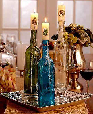 WINE BOTTLE CORK  CANDLES ~ BUTTERFLIES & TREES DESIGN ~S/3~ GIFT IDEA ~NEW~LQQK - Wine Bottle Ideas