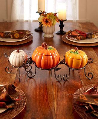 4 Pc Ceramic Pumpkin Centerpiece Set Treat Bowls Thanksgiving Fall Harvest Decor