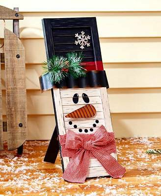 The Lakeside Collection Wooden Holiday Shutters Snowman