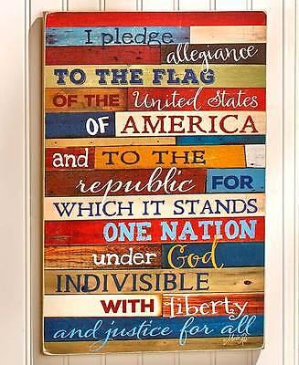 Pledge of Allegiance Americana Wall Art Plaque Patriotic Primitive Home Decor