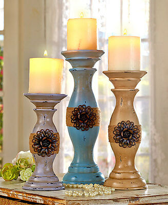 Set of 3 Candleholders Vintage Inspired Chic Distressed Antique Candles Holders