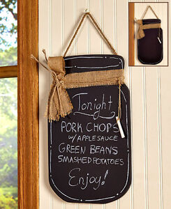 Wooden Mason Jar Shaped Kitchen Wall Hanging Chalkboard Message Board Home  Decor