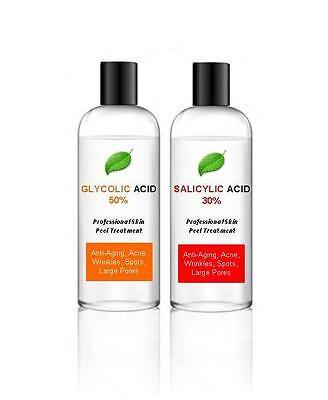 50% Glycolic Acid AHA Skin Peel + 30% Salicylic Acid BHA – Acne - 100ml + 100ml