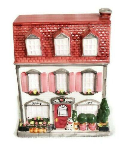 "Sherwood Cookie Jar Florist Shop Flower Store Plants Gifts Building Ceramic 9.5"""