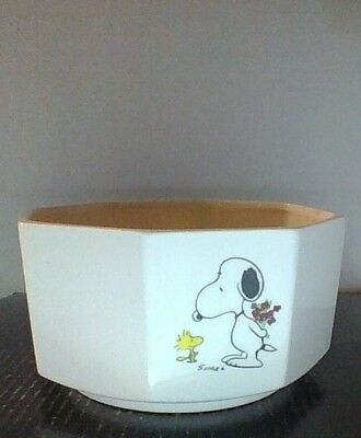 "Vintage Peanuts Snoopy 'Octogon"" Ceramic Dish Good Condition Rare"