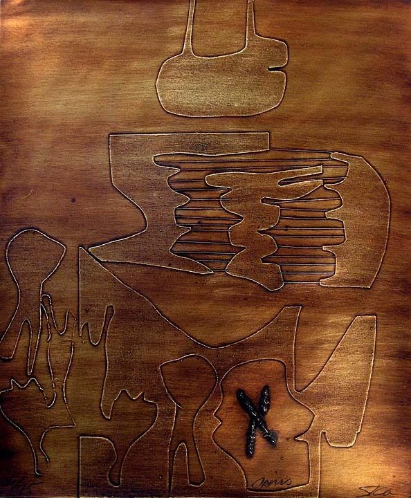 """Sica """"Osiris"""" Signed Numbered Collagraph metallic abstract bronze Make An Offer!"""