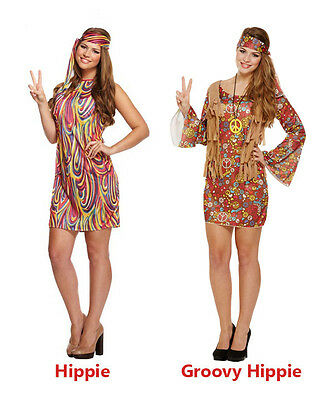 Sexy Ladies GROOVY GIRL Womens 60s 70s Hippy Hippie Fancy Dress Rainbow Party (Hippie Girl Sexy Kostüm)