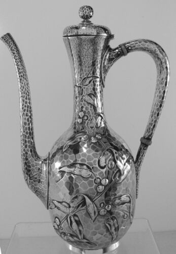 Dominick & Haff  Antique hammered  Sterling Silver Tea or Coffee Pot, 1881, Mono