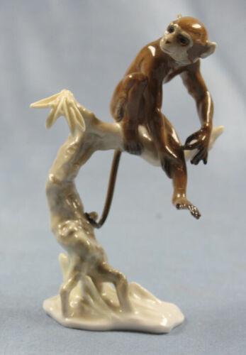 monkey on tree figurine Porcelain Hutschenreuther achtziger 1950 affe