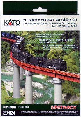 "Kato 20-824 UNITRACK Curved Bridge Set R481-60º 19"" (481mm)-60d (Red)  (N scale)"