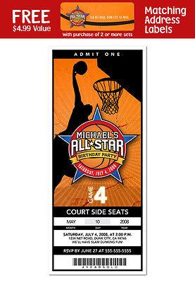 6 Basketball Birthday Bar Mitzvah Baby Shower Personalized Ticket Invitations