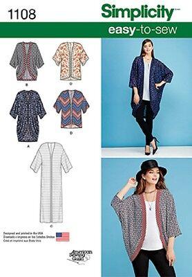 S1108 aka 0402 Simplicity Paper Sewing Pattern EASY Kimono Jackets Size 4 - 26