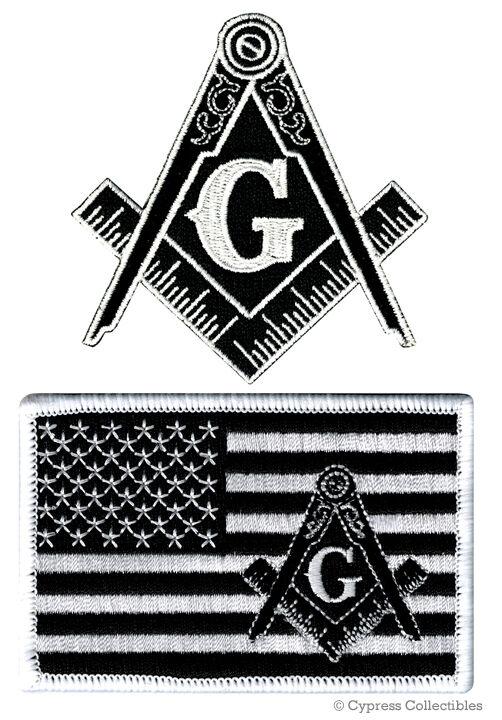 LOT BLACK MASONIC LOGO FLAG EMBROIDERED PATCHES FREEMASON SQUARE COMPASS MASON
