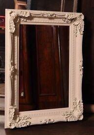 White Ornate antique style framed mirror