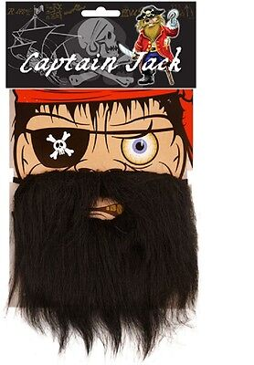 Black Pirate Beard Moustache Captain Jack Caribbean Party Fancy Dress - Captain Black Pirate Kostüm