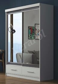 SAME DAY DELIVERY-- BRAND NEW WHITE MARGO MIRROR Sliding Door Wardrobe -SAME DAY DELIVERY!