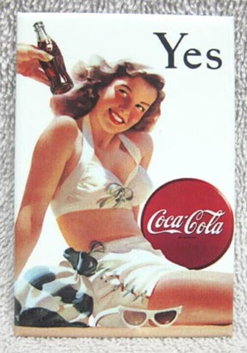 """COCA-COLA CLASSIC - BEAUTIFUL SWIMSUIT """"YES"""" GIRL METAL MAGNET, NEW!"""