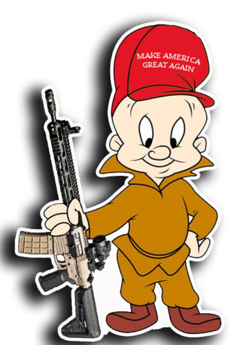 "Elmer Fudd Gun Rights Trump Bumper Window Locker Sticker Decal 4""X5"" AR"