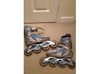inline women's skates and protective pads set
