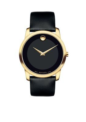 Movado Womens Museum Gold Tone Black Leather Band Watch Model 87 E4 0823