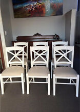 WHITE CROSS BACK DINING CHAIRS FRENCH OR HAMPTONS BEIGE LINEN SEAT!!! Casuarina Kwinana Area Preview