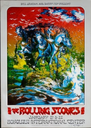 ROLLING STONES HAWAII 1973 concert poster signed by DAVID SINGER BILL GRAHAM