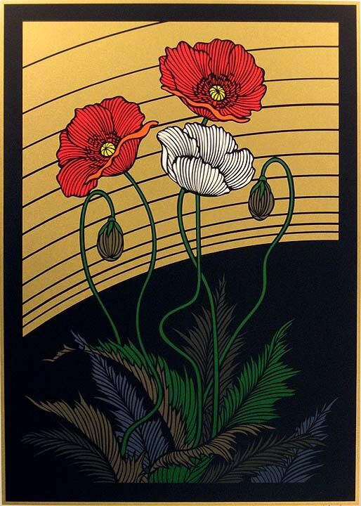 "Yoneshi Hieda ""poppies"" Hand Signed & Numbered Serigraph Of Poppy Flowers, Japan"