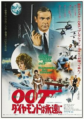 Diamonds Are Forever *POSTER* Sean Connery RARE ART Japan JAMES BOND 007