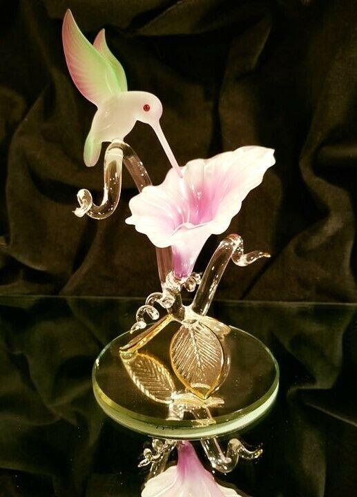 Glass Baron Hummingbird With Fuchsia Flower Figurine
