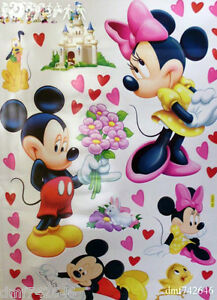 MICKEY AND MINNIE MOUSE Large Sheet /Bedroom/ Playroom/ Nursery/ Wall Stickers