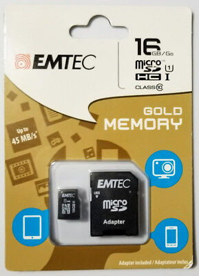 EMTEC 16GB Micro SD HCl Class 10 Gold Memory Card & Adapter 45 MB/s