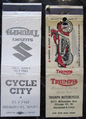 VINTAGE 1960/70S TRIUMPH SUZUKI MOTORCYCLE DEALER MATCHBOOK COVER SPEED TWIN 5T