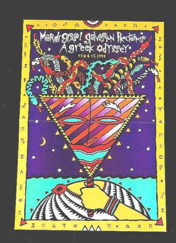 1994 US carnival poster art mardi gras greek festival Galveston Texas  16 x 11