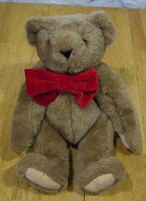 "Vermont TEDDY BEAR W/ RED BOW 16"" Plush Stuffed Animal"