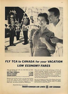 1962 Trans Canada Air Lines Print Ad Features Couple Touring Old World Quebec