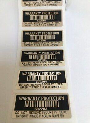 100 Black High Security Tamper Evident Warranty Void Labelsstickers