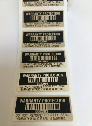 100 Black High Security Tamper Evident Warranty Void Labels/Stickers