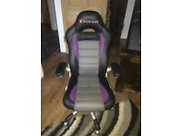 X-Rocker Atlas PC Gaming Chair [Black/Purple/Grey] 2.1 audio, Bluetooth control panel