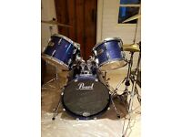 Drum Kit: Pearl Export Series in Purple. 5 Piece kit including Cymbals, stands and Bass pedal.
