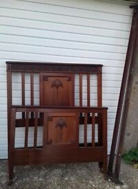 "Antique ""Super Single"" Size Bedstead,Arts & Crafts Headboard and Footboard, 2 Iron Rails + Baseboard"