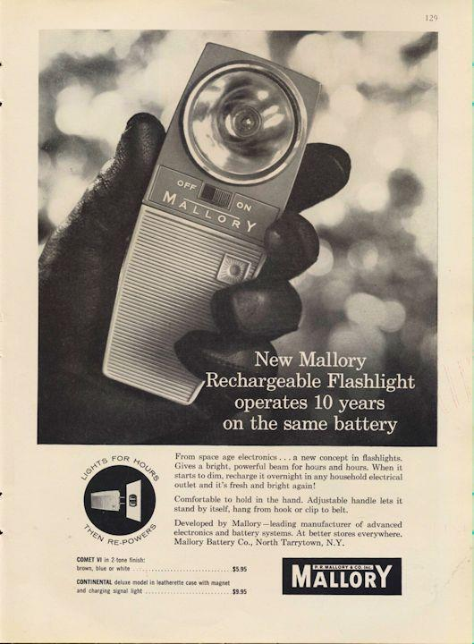 1962 Mallory PRINT AD Batteries Rechargeable Flashlight Science Great Decor