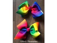 Large Rainbow Hair Bow (jojo bow style)