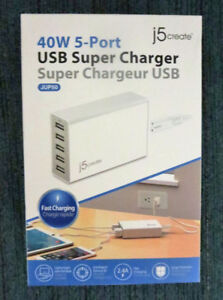 NEW - j5create 40W 5-Port USB Super Charger