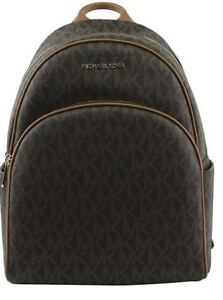 3150e8bb5498 Michael Kors Signature PVC Abbey Large Backpack in Brown acorn 35S7GAYB3B