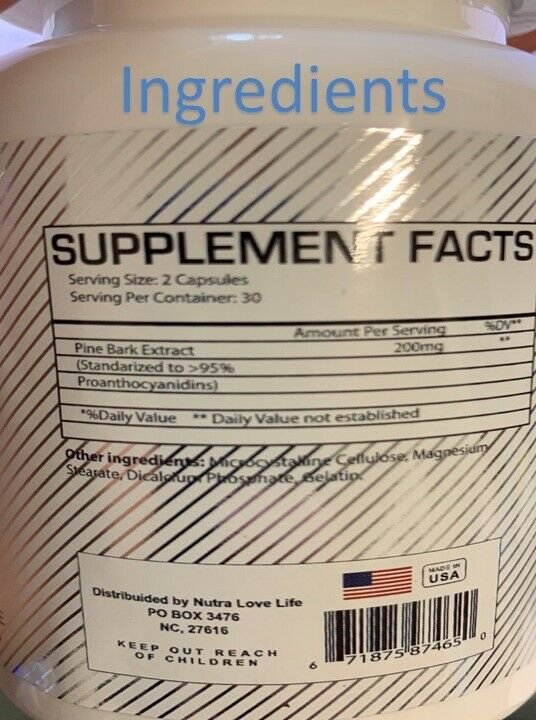 PINE BARK EXTRACT 180 CAPS 200mg BEST DEAL of pine Pycnogenol French Maritime 3 1