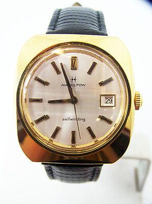Gold HAMILTON DATE Mens Automatic Watch c.1970s Cal 822* EXLNT SERVICED