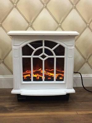 Freestanding White Electric Fireplace Heater Log Wood Burning Flame Stove LED